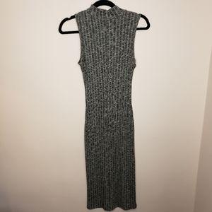 Fashion Magazine Gray High Neck Ribbed Midi Dress